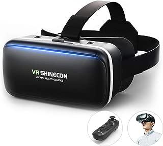 [令和進化型VRゴーグル] VRヘッドセット 3D VRヘッドマウントディスプレ モバイル型 瞳孔/焦点距離調節 軽量 非球面光学レンズ 4.7~6.5インチスマホ Bluetoothコントローラ付 120°視野角 着け心地よい スマホVR 近視適用 4.7~6.5インチ iPhone& android などのスマホ対応 日本語説明書付