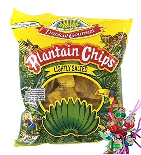 [ 10x 85g ] TROPICAL GOURMET Bananen Chips [ leicht gesalzen ] Ecuador + ein kleines Glückspüppchen - Holzpüppchen