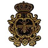 1 pieza de artesanía dorada lentejuelas insignia de tela parches corona abeja...