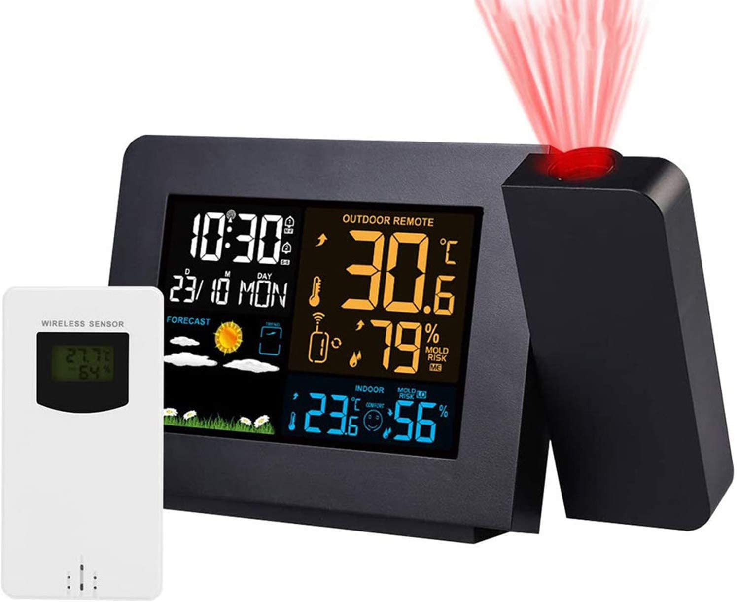 YINGHUI Projection Alarm Clock Outdoor Max 90% latest OFF Sensor Weather with