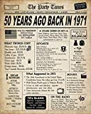 50th Birthday Decorations for Women or Men, Classy Vintage Table Decor, Birthday Card Poster for Him or Her Turning 50 Years Old, Back in 1971 Print (8 x 10, UNFRAMED)