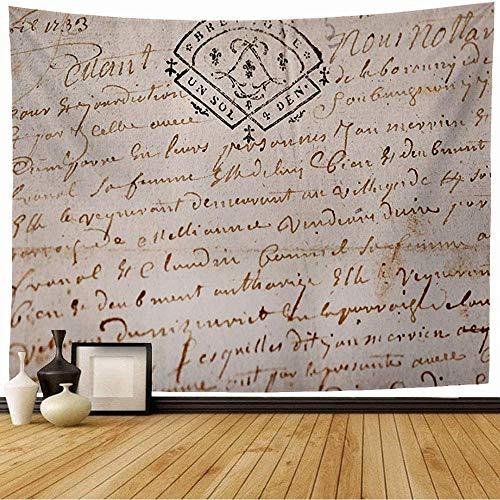 N\A Tapisserie Wandbehang Text Alte französische Manuskript Notar Stempel von Verschiedenes Vintage verblasste Handschrift Skript Brief Vintage Tapisserie für Schlafzimmer Home Dorm