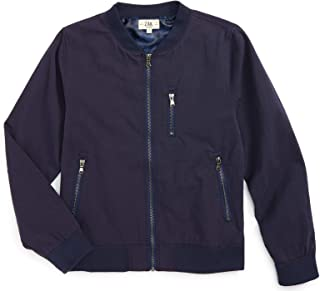 Brand Kids Navy Twill Military Inspired Bomber with Tonal CAMO Printed Lining and Zipper Pockets for Big and Little Boys