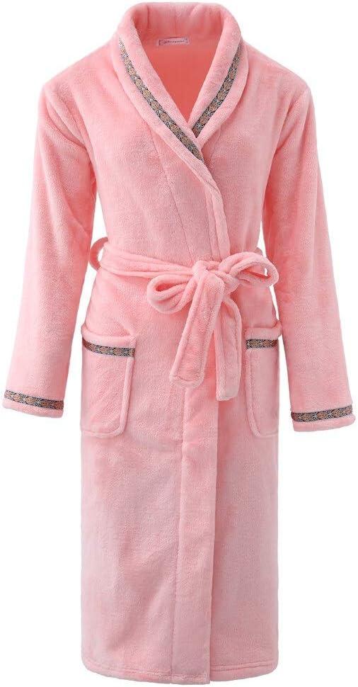 QYLLXSYY Winter Robe Couple Ultra Long Men&Women Kimono Bathrobe Gown Large Size 3XL Flannel Sleepwear Thick Nightwear Casual Homewear Nightgown (Color : Men M, Size : XXXL)