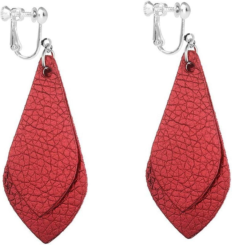 Dangle Leather Clip on Earrings Double Layered Faux Genuine Fashion PU Leather Teardrop Drop Women