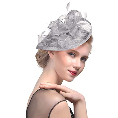 dressfan Fascinator Headband Fascinator Cocktail Hat Feather Semicircular  Mesh Small Hat Headdress Party Banquet Bride Hair 58a3bfeab