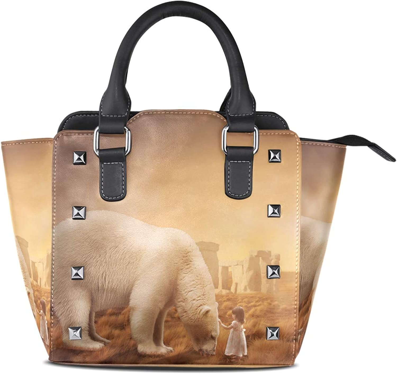 Leather Sunset Bear Little Girl Rivet Handbags Tote Bag Shoulder Satchel for Women Girls