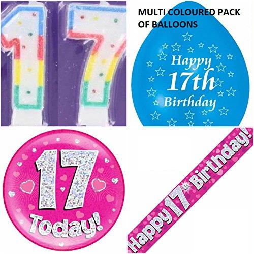 Party-Set für Mädchen zum 17. Geburtstag (englisch). Partyset für 17-Jährige (Banner, Luftballons, Kerze, Abzeichen).