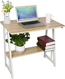 Home Office Laptop Writing Desk-Rustic Vintage Solid Wood Computer Table Classic Saving Space Double Level Desk Computer Table Study Desk (Yellow, 80cm×50cm/31.5×19.7Inch)