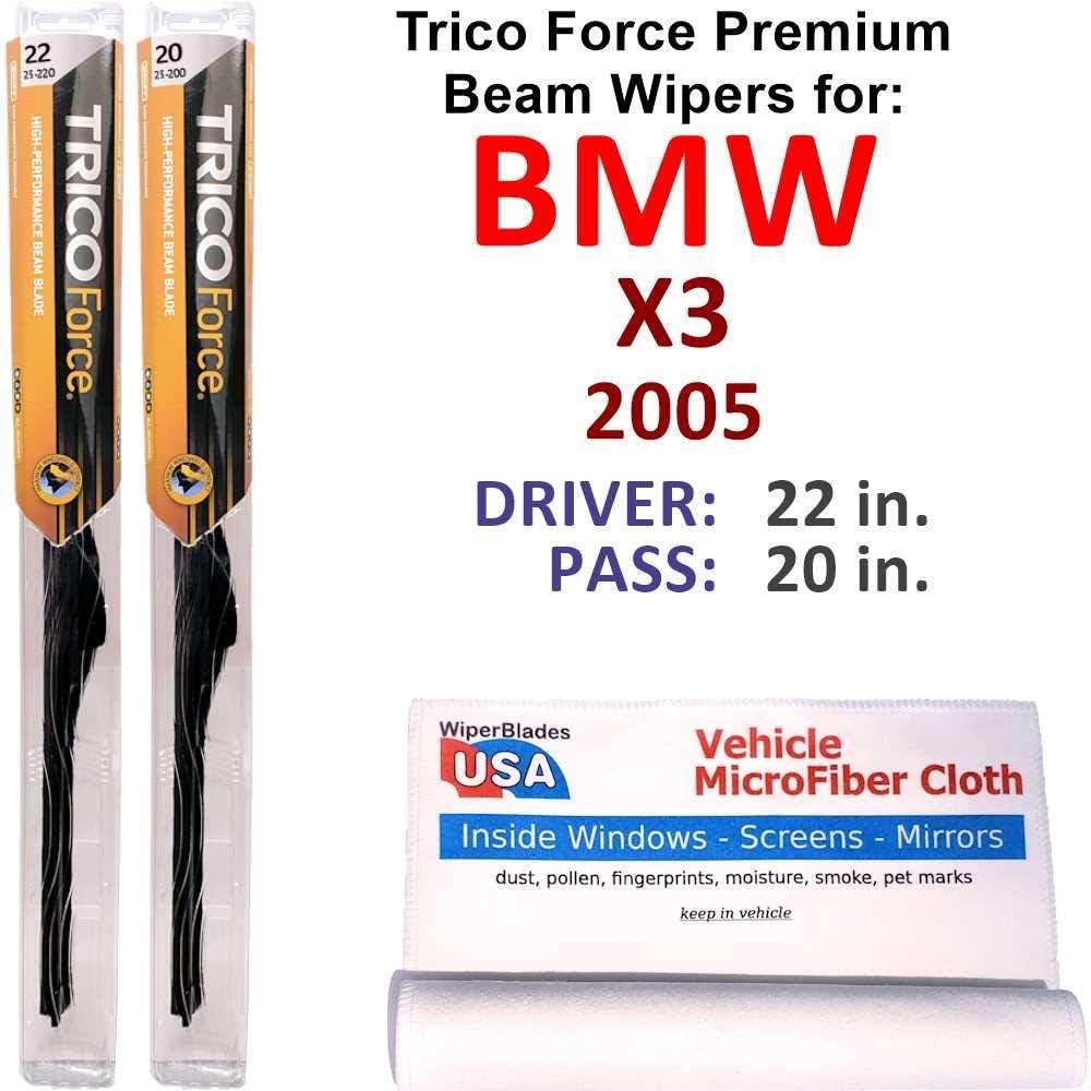 信用 Premium Beam Wiper Blades for 2005 Set Force B X3 Trico 正規品送料無料 BMW