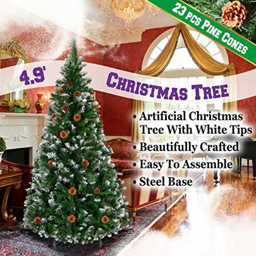 BenefitUSA Special sale item Green 5' 6' 7' 7.5' Christmas Tipped with Snow Tree Cheap mail order specialty store p