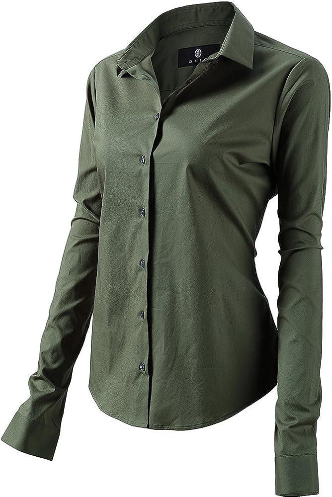 Fly hawk camicia da donna a maniche lunghe 97% cotone 3% poliestere camicetta casual verde 2