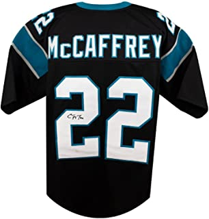 Christian McCaffrey Autograph Carolina Panthers Custom Black Football Jersey JSA