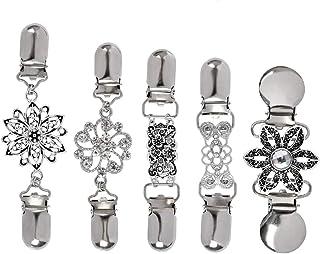 """""""N/A"""" 5 Piezas Clip de Rebeca de Mujer,Clips de suéter Vintage con Flores Diamantes de Imitación,Falda y Bufanda Metal Cad..."""