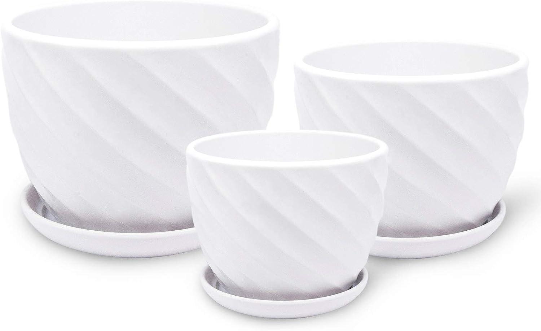 White Ceramic Flower Plant Pots - Indoor Garden Flower Planter Pots with Saucers,4 5 6 Inch Pack 3 Indoor Planters (White revolving Flowerpot)