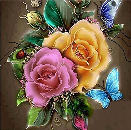 5D Full Drill Diamond Painting Square Rhinestone Color Rose Flowers Butterfly DIY Embroidery Arts Craft Paint-by-Diamond Kits Cross Stitch for Home Decoration 12X12 inch (Color Rose Flower)