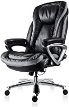 Smugdesk High Back Executive Office Chair with Thick Padding Headrest and Armrest Home Office Chair with Tilt Function, Dark Black