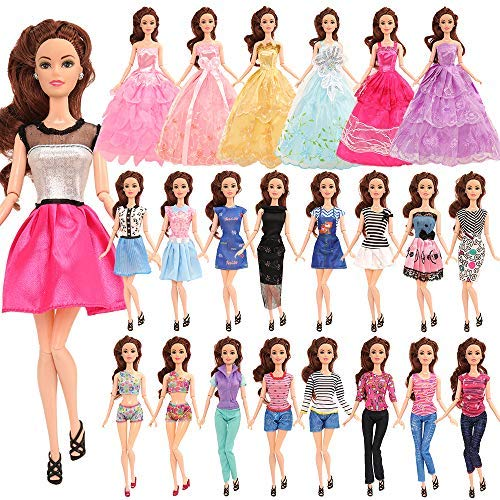BM 18 Pack Barbi Clothes and Accessories 2 PCS Fashion Dresses 2 Tops and Pants Outfits 2 PCS Party Dresses 2 Sets Swimsuits Bikini 10 pcs Shoes for 11.5 inch Doll