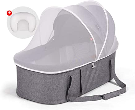 Travel Crib Cots Baby Nest Pod Bassinet Portable Baby Basket Cradle Bed Newborn Baby Lounger High Resilience Cotton Foldable Gray and Black  Color Gray