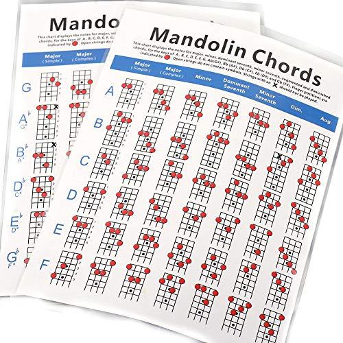 Grundkenntnisse Und Tutorial Für Mandoline, Mandoline Fingering Diagramm Poster Mandoline Akkord Diagramm Mandoline Akkord Diagramm, Griffbrett Note Decals Für Instrument Mandoline