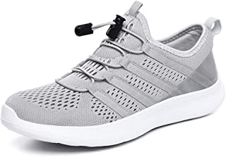 Shangruiqi Fashion Sneakers for Men Running Shoes Pull On Style Mesh Upper Drawstring Youth Tide Breathable Stitched Three Color Assembling Anti-Wear (Color : Light-Gray, Size : 6 UK)