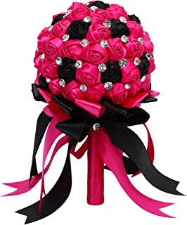 FAYBOX Crystal Satin Rose Bridal Bridesmaid Bouquets Wedding Flower Decor Fushia Black