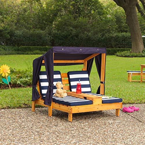 KidKraft 00524 Doppelte Sonnenliege mit Getränkehaltern Doppelliege, Chaiselongue aus Holz, Honigfarben - 5