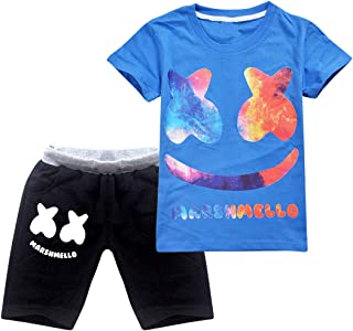 Thombase Kids DJ Marshmellow Print T Shirt & Short Chothing Set Boys Sport Suits