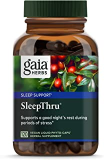 Gaia Herbs, SleepThru, Sleep Support, Non Habit Forming Herbal Sleep Aid, Passionflower, Ashwagandha, Jujube, Organic, Mel...