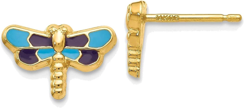 Enameled Dragonfly Earrings in 14K Yellow Gold