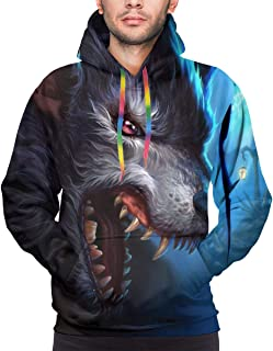 3d trippy wolf print pullover hoodie - xl