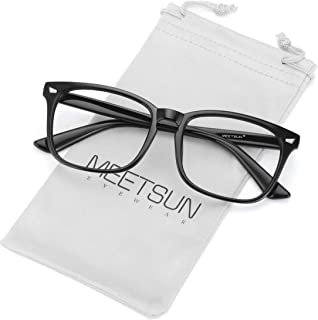 MEETSUN Blue Light Blocking Glasses, Anti Eye Strain Headache (Sleep Better),Computer Reading Glasses UV400 Lens (T1 Black-Transparent Lens)