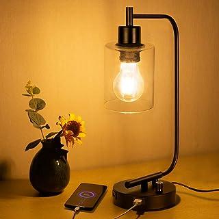 Farol de cristal para lámpara de noche, incluye bombilla, doble puerto USB, farol de hierro, lámpara de mesa de cristal con pantalla regulable, ideal para dormitorio, oficina, salón o tocador