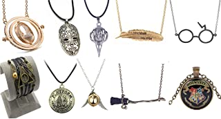 10 Pack Harry Potter Pendant Necklace Time Turner Deathly Hallows Golden Snitch