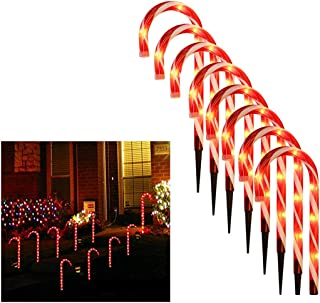 Yuege Light up Candy Cane Set Christmas Candy Cane LED Lights Pathway Outdoor Garden Decorations Battery Powered 16inch Candy Cane Pathway Markers Xmas Indoor/Outdoor Decoration Lights (8 PC)