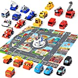 24 Car Toys with Play Mat, 26.7' x 31.5' City Playmat Include Including Construction Vehicles, Kart,...