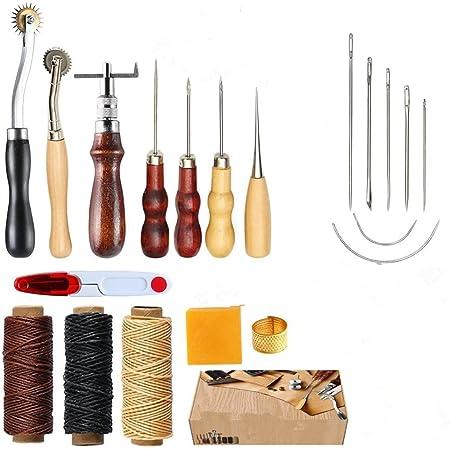 Cuir à coudre outils kit de réparation de 14 pièces à coudre à la main Craft DIY Kit