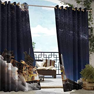 Outdoor Balcony Privacy Curtain Outer Space Decor Collection,Space Shuttle Taking Off on a Mission Starfield Scientific Astrophotography Picture,Navy Blue,W84