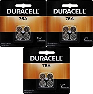 Duracell 76A LR44 Duralock 1.5V Button Cell Battery 12 Pack Exp. 2018 Or Better (Replaces: LR44, CR44, SR44, 357, SR44W, AG13, G13, A76, A-76, PX76, 675, 1166a, LR44H, V13GA, GP76A, L1154, RW82B, EPX76, SR44SW, 303, SR44, S303, S357, SP303, SR44SW)