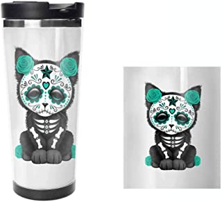 Sugar Skull Cat Rose Coffee Mug 14 Oz Male Love Gifts Tea Cup.Travel Coffee Cup,Drinking Cup, Female Male,Double stainless steel vacuum insulation,Thermos cup-397ML