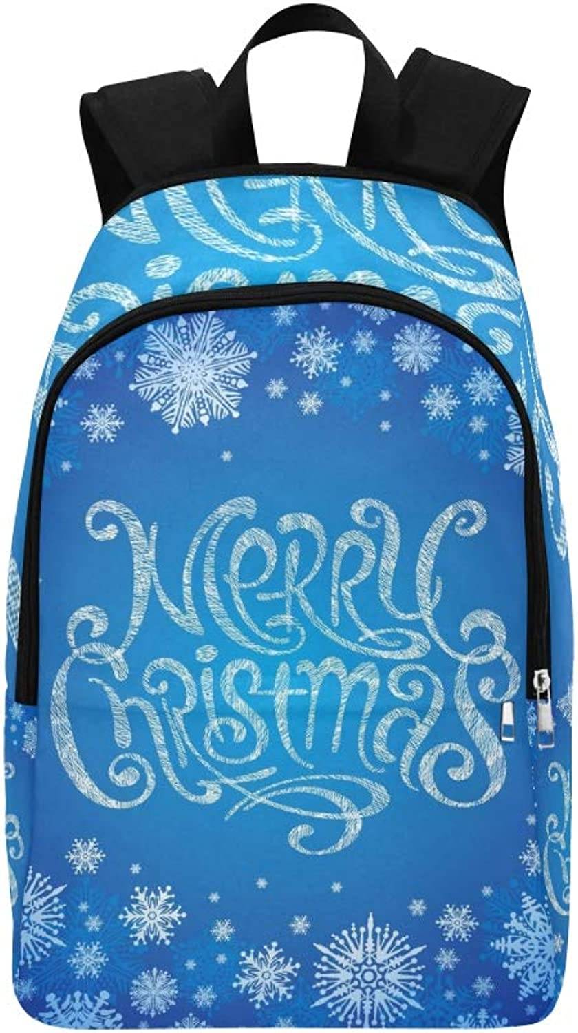 Christmas Hand Drawn Greeting Sign Casual Daypack Travel Bag College School Backpack for Mens and Women