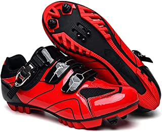 ZMYC Unisex Bike Shoes MTB Lock Cycling Shoes Professional Lightweight Road Shoes, Non-slip Breathable Mountain Bike Sports Shoes (Color : Red, Size : 39)