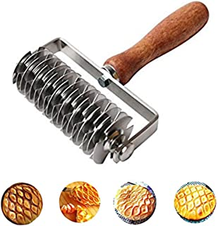 Stainless Steel Dough Lattice Dough Lattice Bread Dockers Noodle Maker Pizza Pastry Crust Roller Cutter Wooden Handle Kitchen Gadgets for Cooking