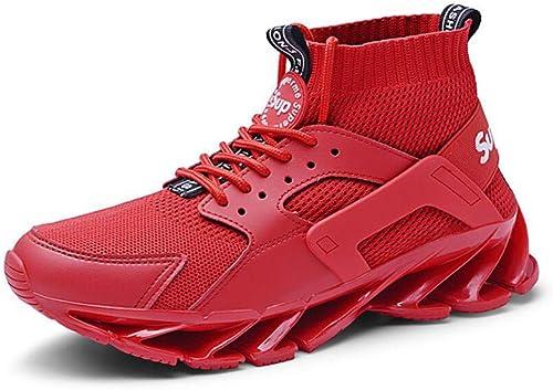 RYRYRB Chaussures de Sport pour Hommes, Chaussures Chaussures de Sport, Tube Anti-dérapant, Haut, élastique, Volant décontracté, Chaussettes Hautes tissées Chaussures décontractées Simples et Confortables  acheter pas cher neuf