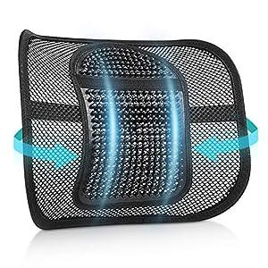 RenFox Cojín Lumbar Soporte para la Espalda Lumbar Soporte para Silla de Oficina Coche corrige la Postura Alivia el Dolor Lumbar (Black-1)