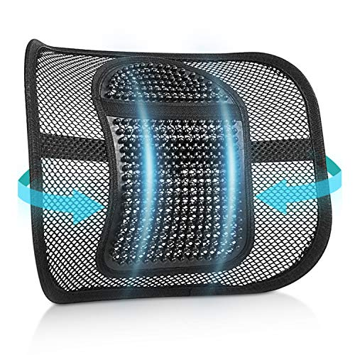 RenFox Cojín Lumbar Soporte para la Espalda Lumbar Soporte para Silla de Oficina Coche corrige la Postura Alivia el Dolor Lumbar (Black-1) ✅