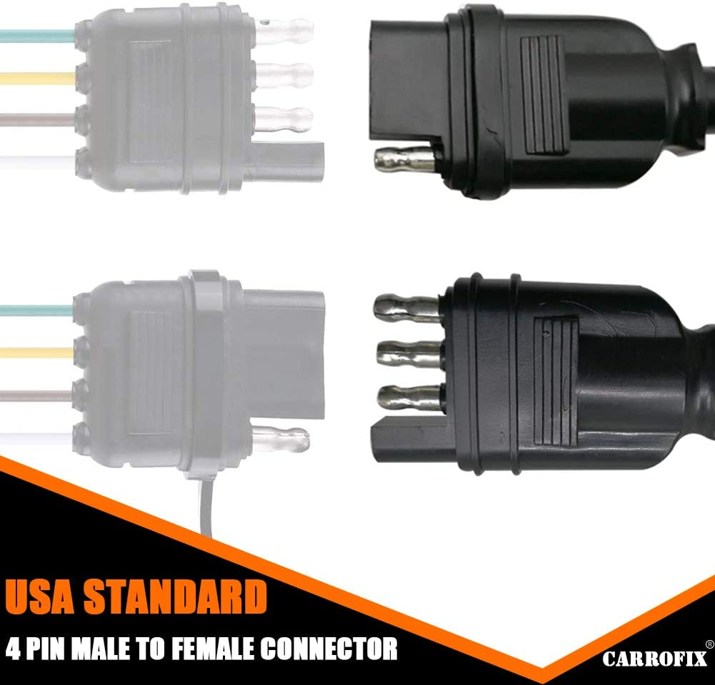 CARROFIX 4 Wire Flat Extension 60 4-Pin Trailer Wiring Harness ...