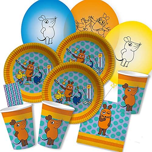 dh-konzept/spielum 52-teiliges Party-Set - Die Maus - Teller Becher Servietten Luftballons Papiertrinkhalme für 8 Kinder
