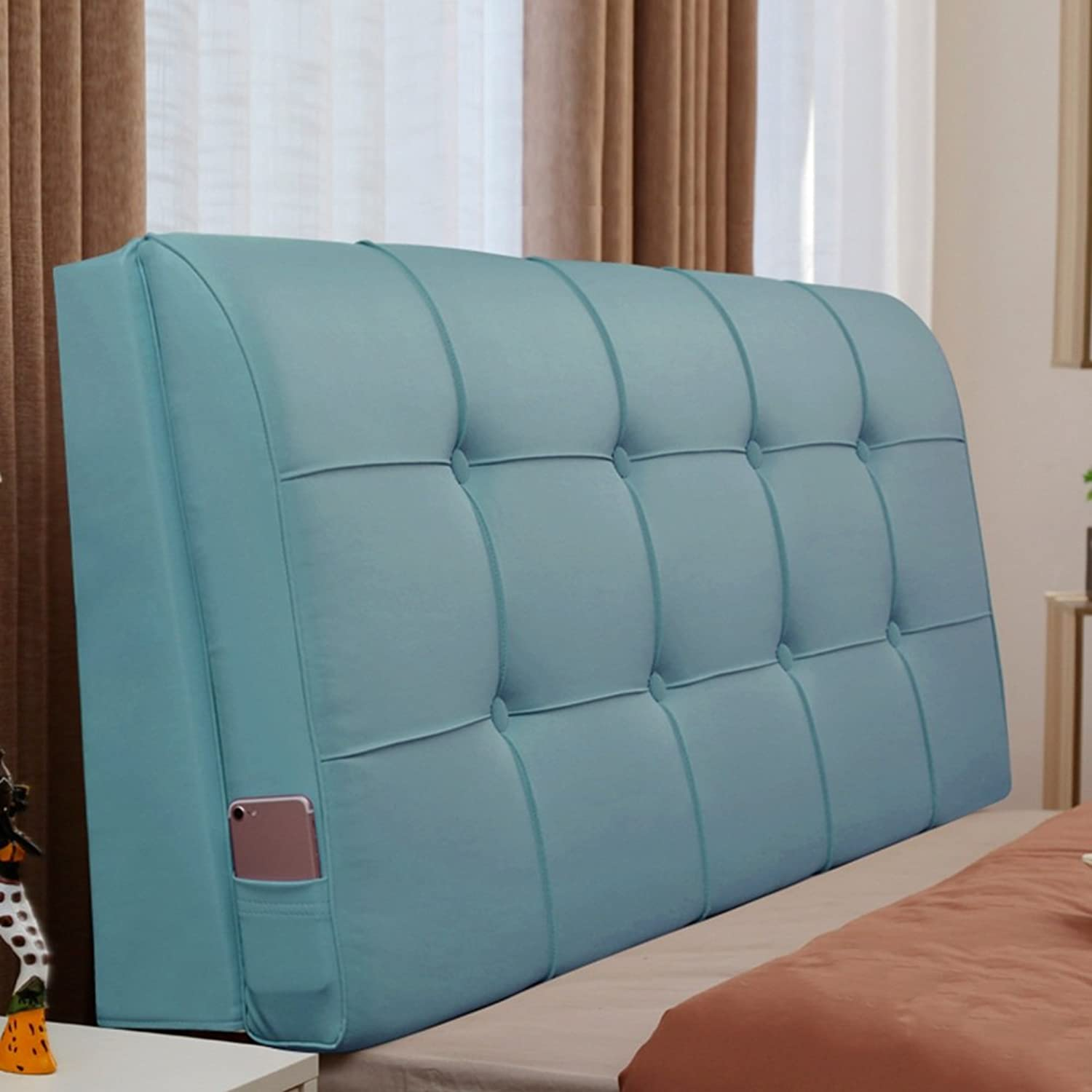 WENZHE Upholstered Fabric Headboard Bedside Cushion Pads Cover Bed Wedges Backrest Waist Pad Soft Case Bedroom Bedside Backrest Waterproof, There Is Headboard   No Headboard, 7 colors, 7 Sizes ( color   6  , Size   With headboard-200cm )