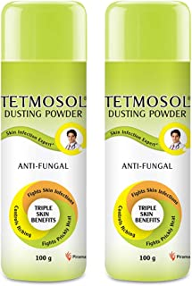 Tetmosol Anti-fungal Dusting Powder - for daily use - fights skin infections, prickly heat, itching - Pack of 2 (2x100gms)